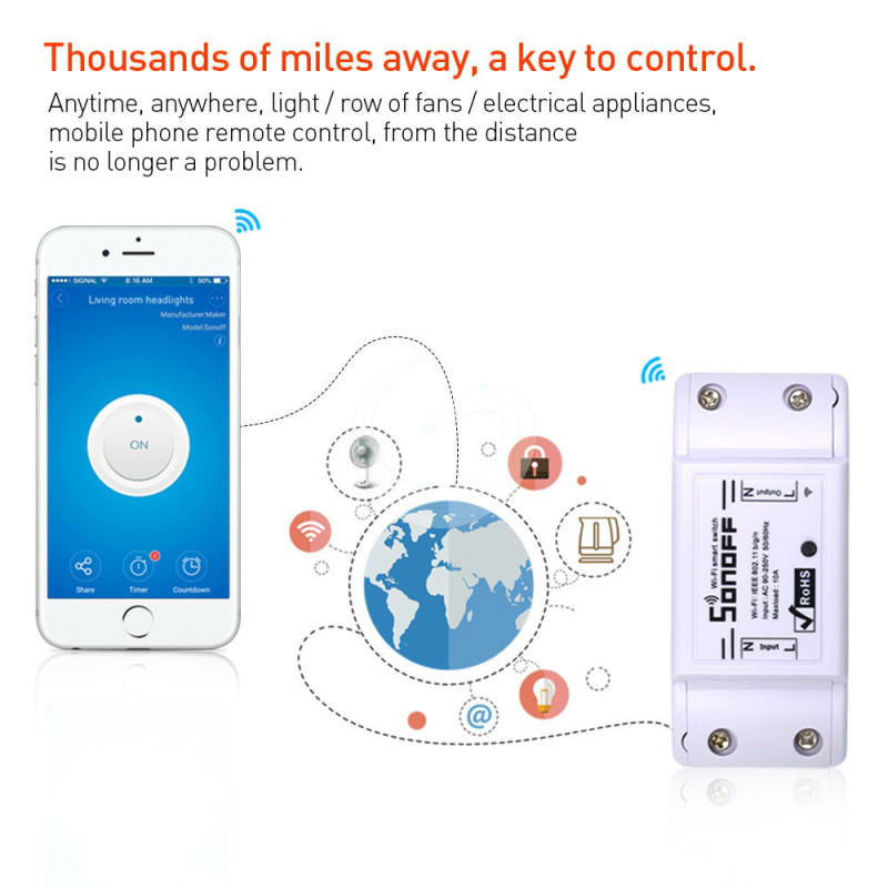 Sonoff Basic Wireless Wifi Switch For Smart Home